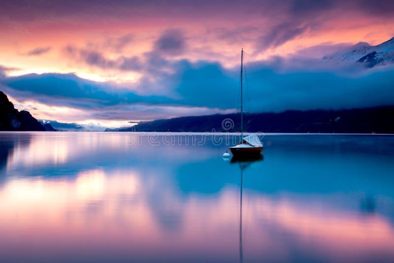 beautiful lake Brienz at sunset  Switzerland stock image