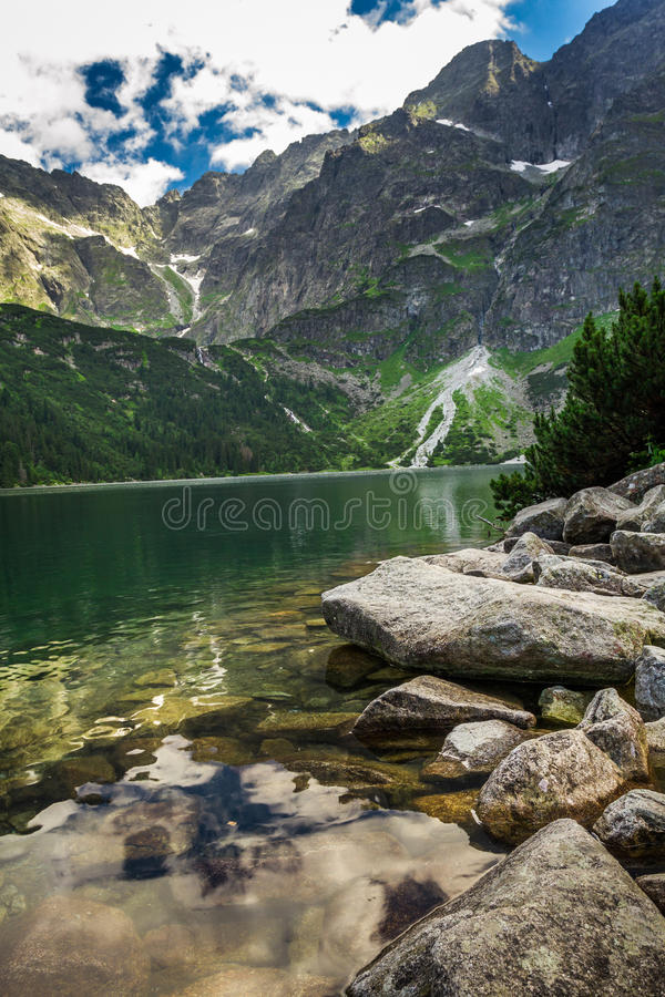 Beautiful lake with clear water in the mountains stock photo