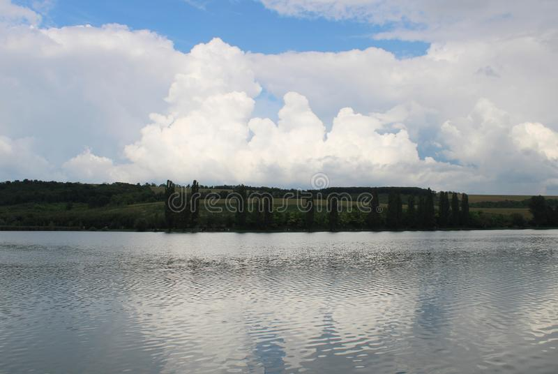 Beautiful lake and clouds. Near Gyermely, Hungary royalty free stock photo