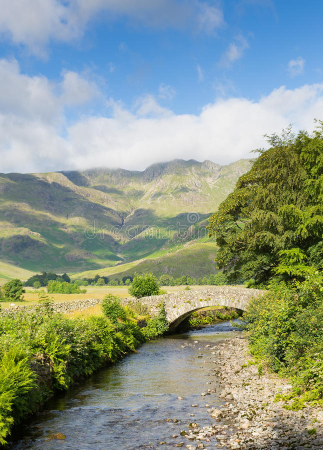 Beautiful Lake District river Mickleden Beck Langdale Valley by Old Dungeon Ghyll Cumbria England United Kingdom UK. By campsite royalty free stock photography