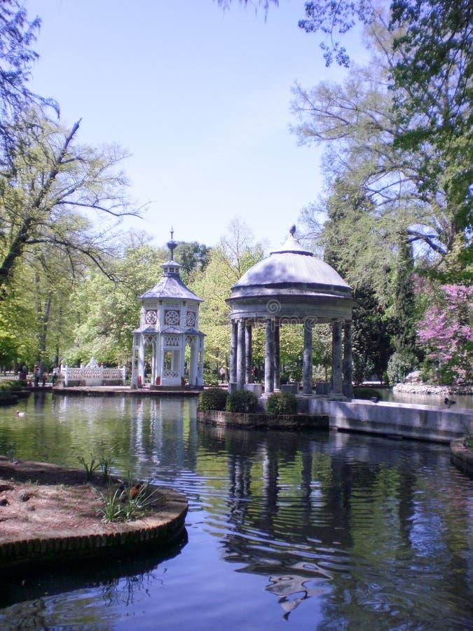 Beautiful Lake Filled With Ducks Of Aranjuez Palace royalty free stock image