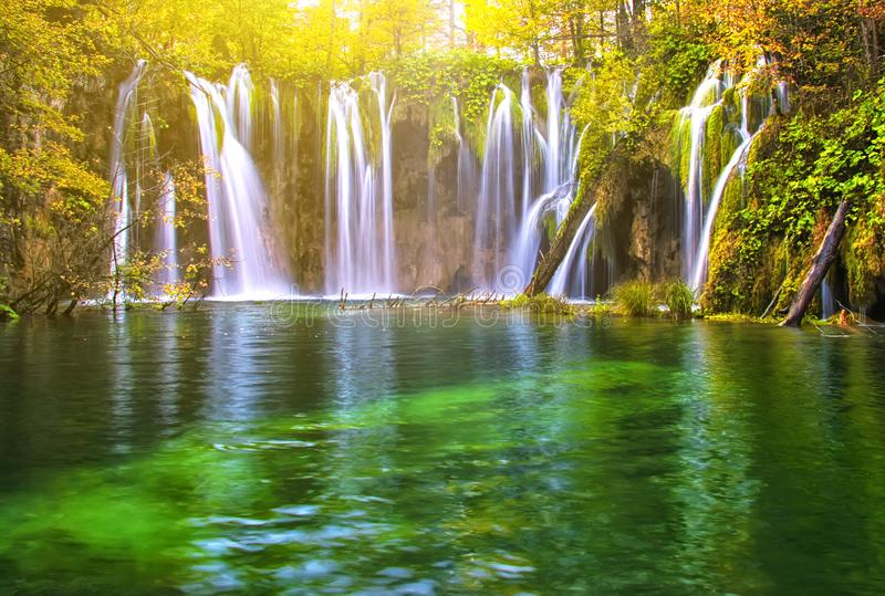 Beautiful lake in forest with waterfall of national park Plitvice stock image