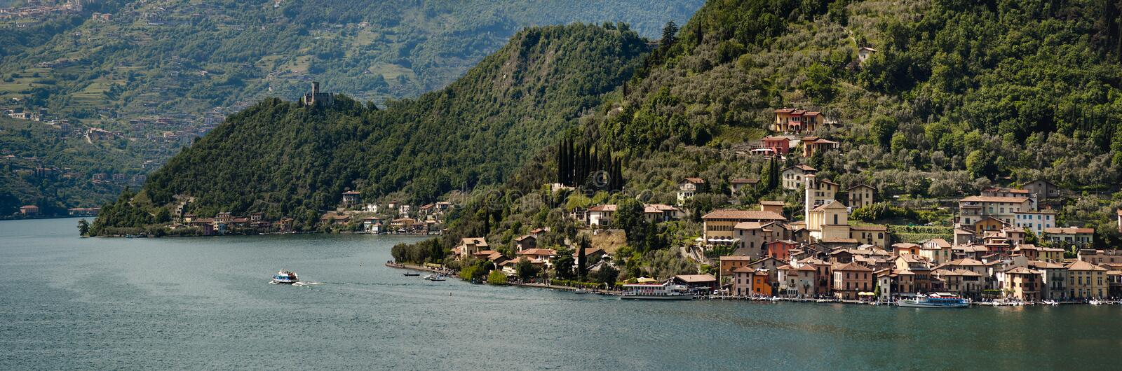 The beautiful lake of Iseo, North Italy, near Brescia and Bergamo. During spring, with sun royalty free stock photo