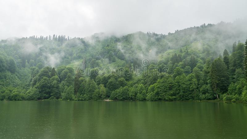 A beautiful lake landscape from Borcka Karagol Nature Park, Artvin, Turkey. Artvin, Turkey - July 2018: A beautiful lake landscape from Borcka Karagol Nature royalty free stock photo