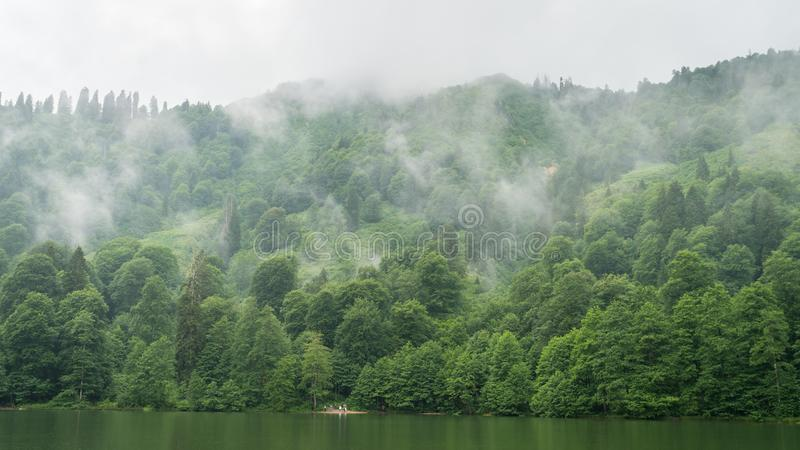 A beautiful lake landscape from Borcka Karagol Nature Park, Artvin, Turkey. Artvin, Turkey - July 2018: A beautiful lake landscape from Borcka Karagol Nature stock photo