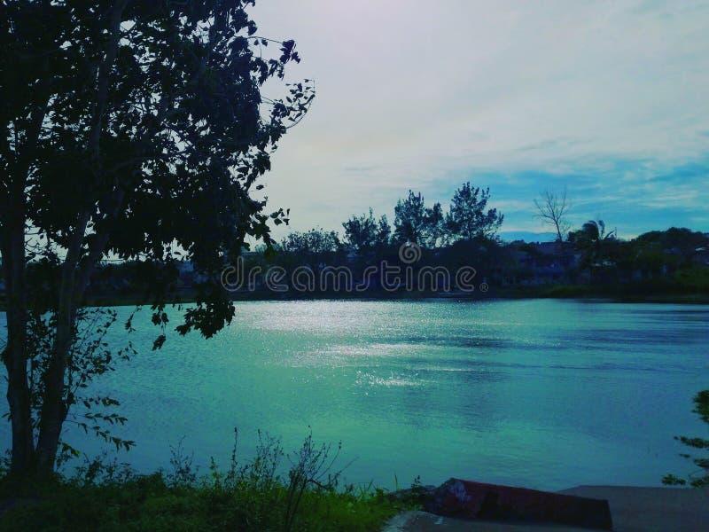 Blue turquoise lagoon stock image