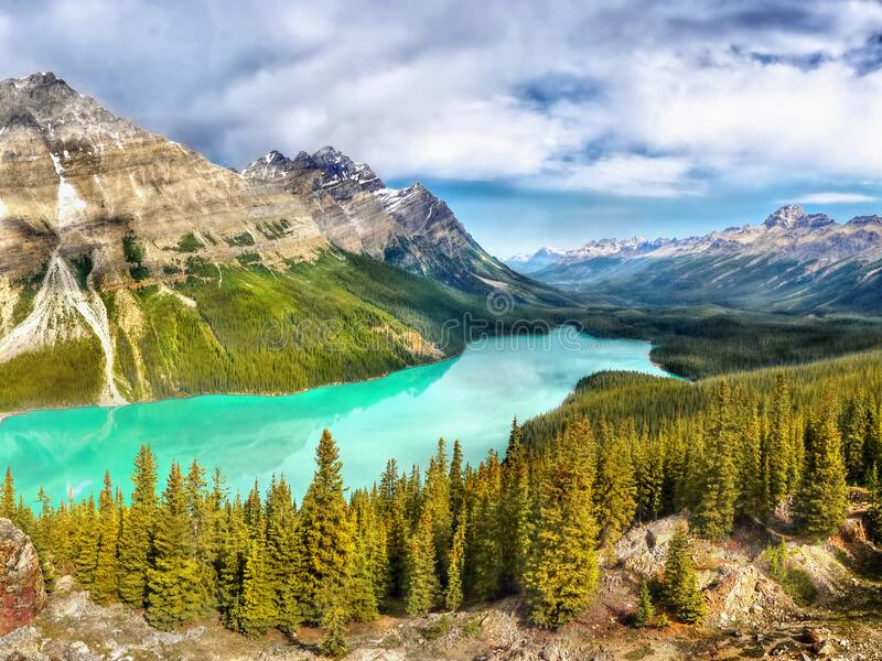 Beautiful lake mountains Canadian Rockies Canada royalty free stock photos