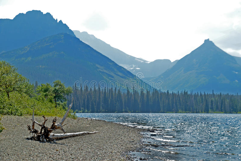 Beautiful lake and mountains in Glacier National Park. stock photos