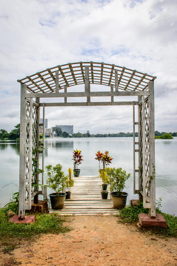 Nice place to relax beside Inya lake, Yangon, Myanmar stock photo
