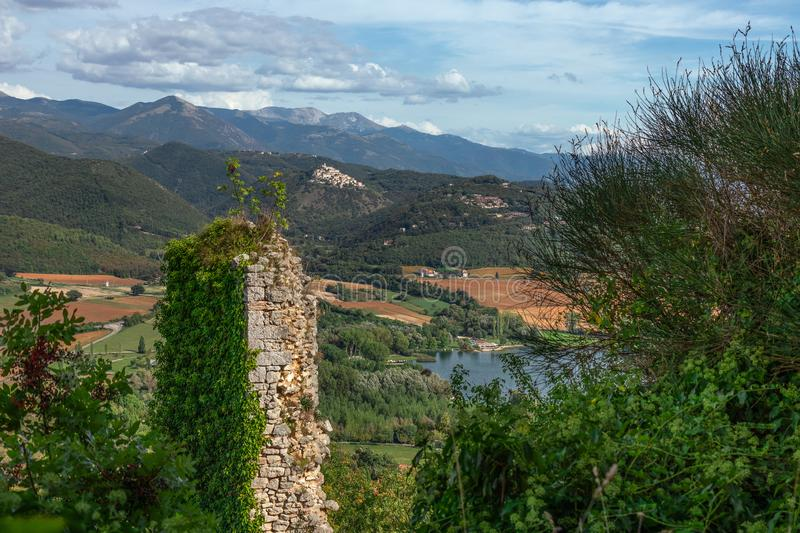 Beautiful lake Piediluco view and the ancient town Labro on the stock photography