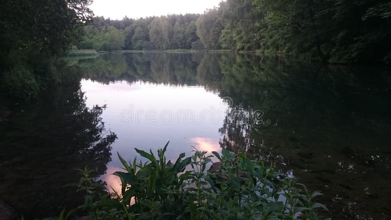 Beautiful lake in the small country and city Poland Rudniki stock images