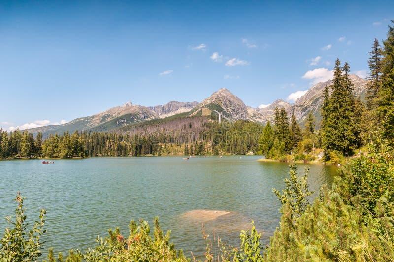 Beautiful Lake Strbske Pleso in High Tatras of Slovakia royalty free stock images