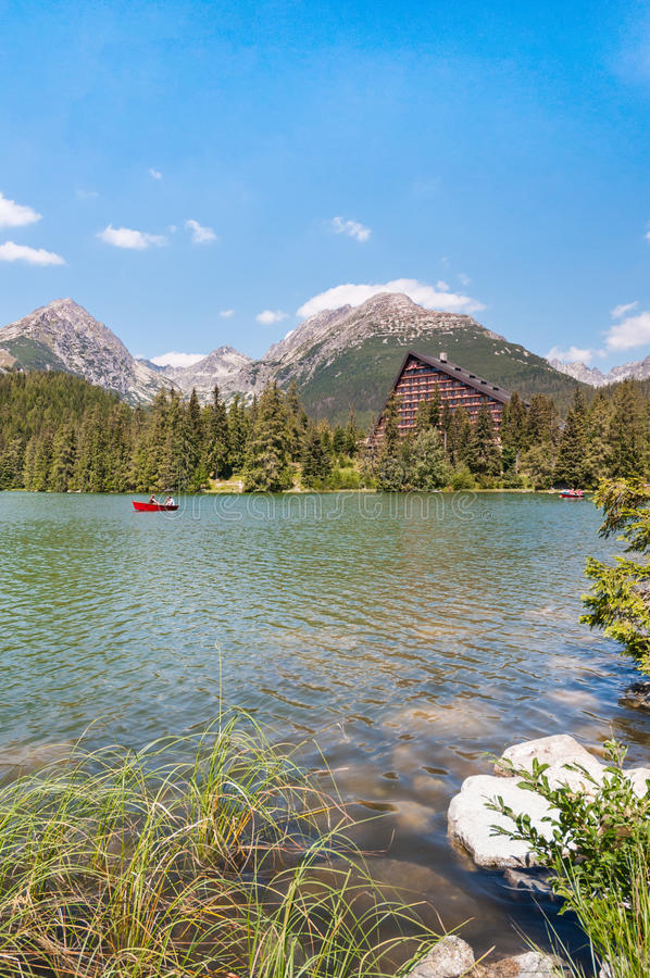 Beautiful Lake Strbske Pleso in High Tatras of Slovakia royalty free stock photo