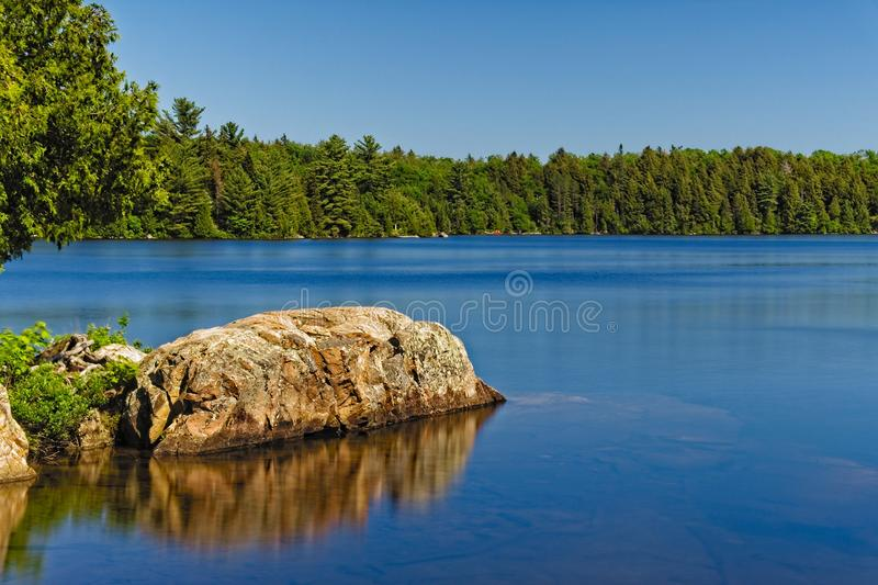 A beautiful lake on a sunny, summer day royalty free stock photo