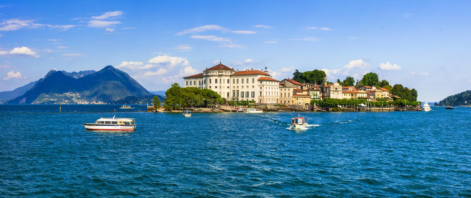 Beautiful lakes of Italy - scenic Lago Maggiore, Borromean island royalty free stock photos