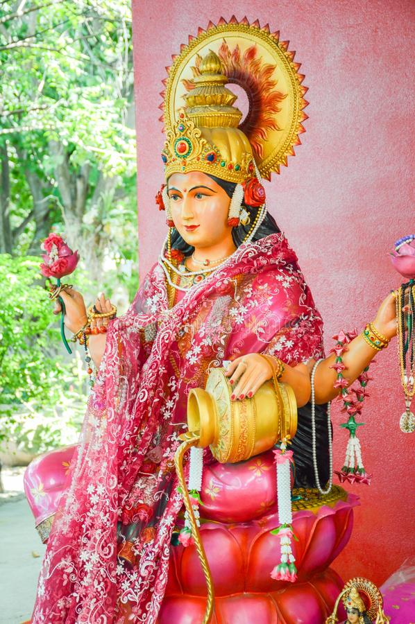Beautiful Lakshmi statue in Saman temple, Thailand stock photo