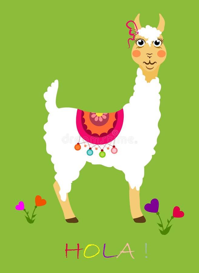 Beautiful lama with big eyes and flowers stock illustration
