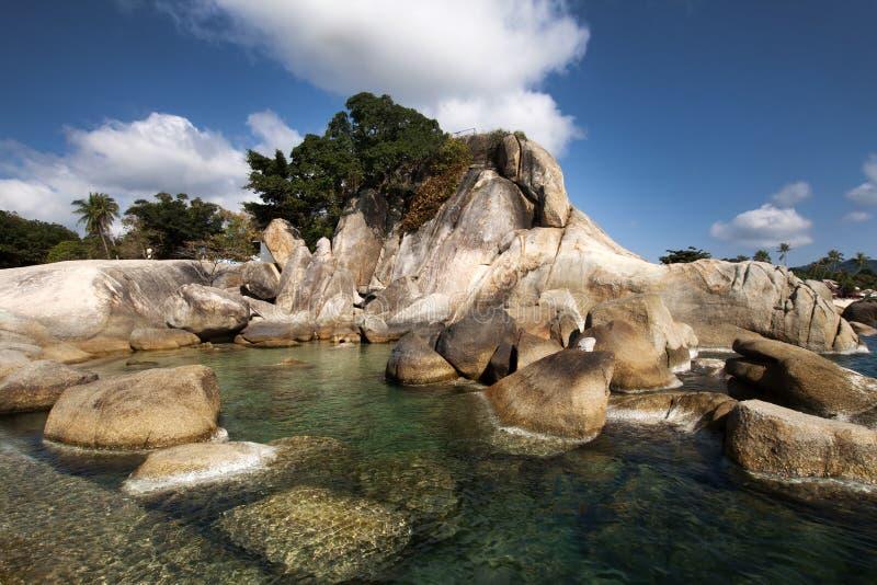 Beautiful Lamai beach, Ko Samui, Thailand. Exotic holiday background stock image