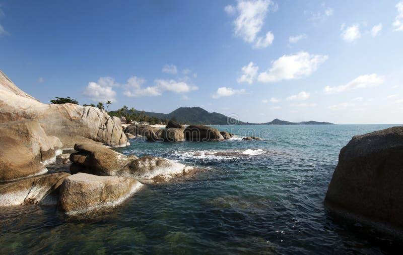Beautiful Lamai beach, Ko Samui, Thailand. Exotic holiday background royalty free stock photography