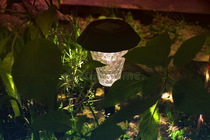 Beautiful lamp in the garden. Lamp with solar battery royalty free stock photography
