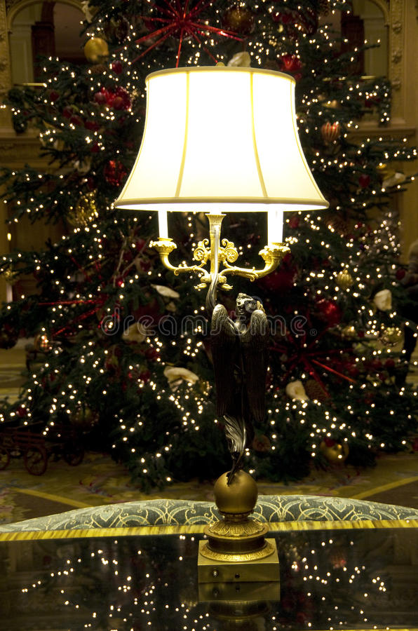 Beautiful lamp lighting christmas tree hotel lobby stock image