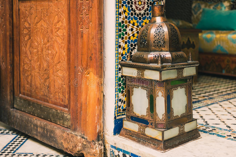 Beautiful lamp in a moroccan interior stock photo