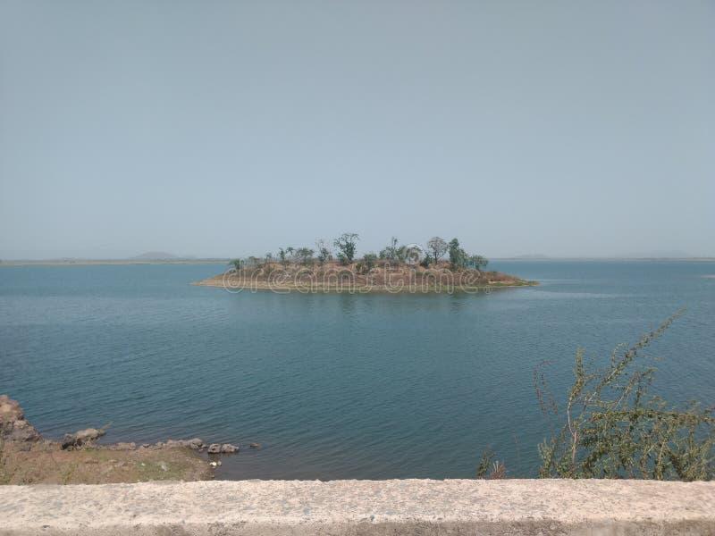 Beautiful land on water in india. Huge dam of Bilaspur Chhattisgarh royalty free stock photos