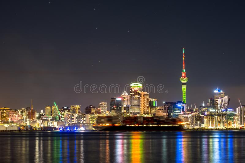 Beautiful landcape of the building in Auckland city at night. View from Cyril Bassett VC Lookout. I. Beautiful landcape of the building in Auckland city at night royalty free stock images