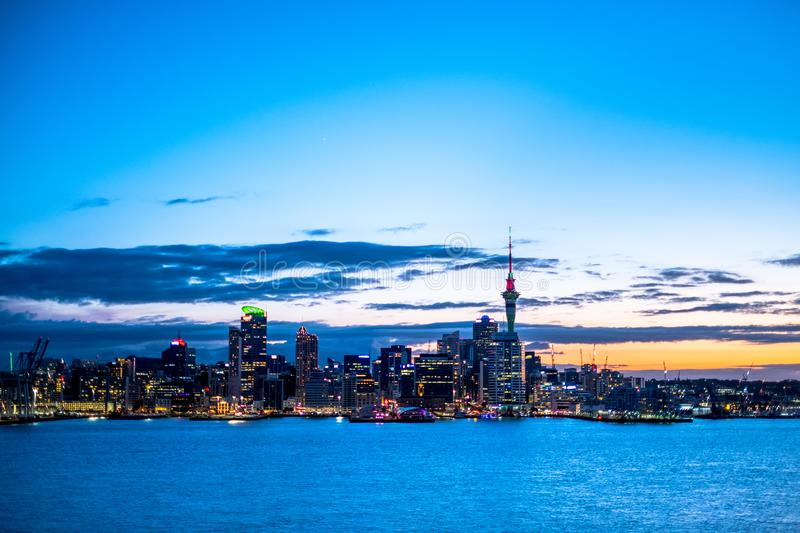 Beautiful landcape of the building in Auckland city at night. View from Cyril Bassett VC Lookout. I. Beautiful landcape of the building in Auckland city at night stock photos