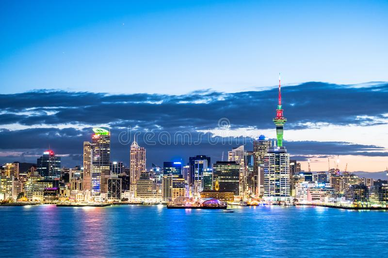 Beautiful landcape of the building in Auckland city at night. View from Cyril Bassett VC Lookout. I. Beautiful landcape of the building in Auckland city at night royalty free stock photos