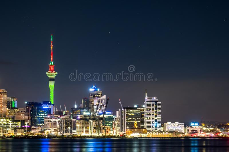 Beautiful landcape of the building in Auckland city at night. View from Cyril Bassett VC Lookout. I. Beautiful landcape of the building in Auckland city at night stock images