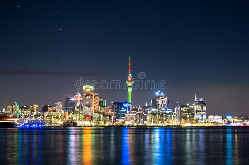 Beautiful landcape of the building in Auckland city at night. View from Cyril Bassett VC Lookout. I. Beautiful landcape of the building in Auckland city at night royalty free stock image