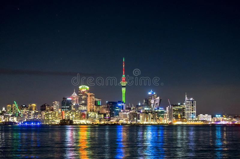 Beautiful landcape of the building in Auckland city at night. View from Cyril Bassett VC Lookout. I. Beautiful landcape of the building in Auckland city at night stock image