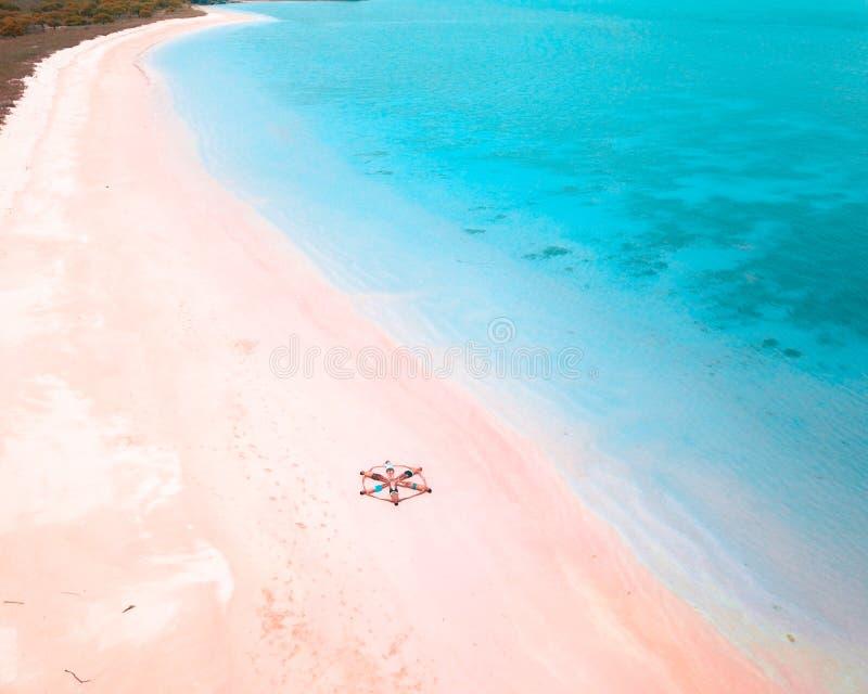 Aerial view at pink beach, komodo national park, east nusa tenggara indonesia royalty free stock image