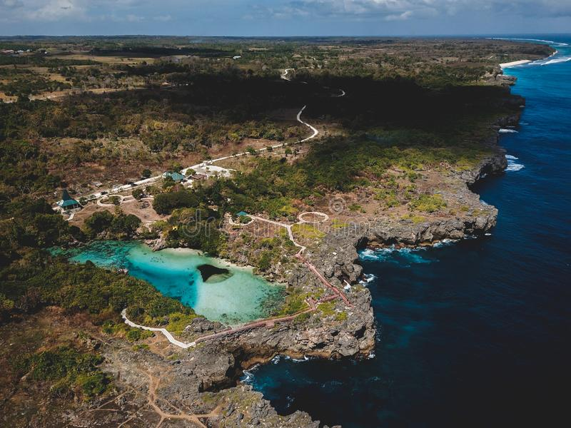 Aerial view weekuri lagoon, sumba island, east nusa tenggara indonesia. Beautiful landscape aerial view weekuri lagoon, sumba island, east nusa tenggara stock photo