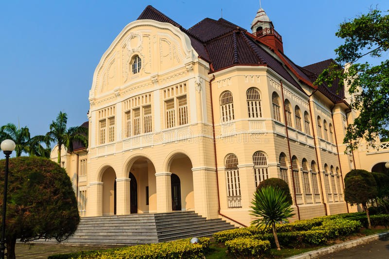 Beautiful Landscape and Architecture of Phra Ramratchaniwet Palace (Wang Ban Peun), former the king Rama 5 palace, one of the mai. N public tourist attractions stock photo