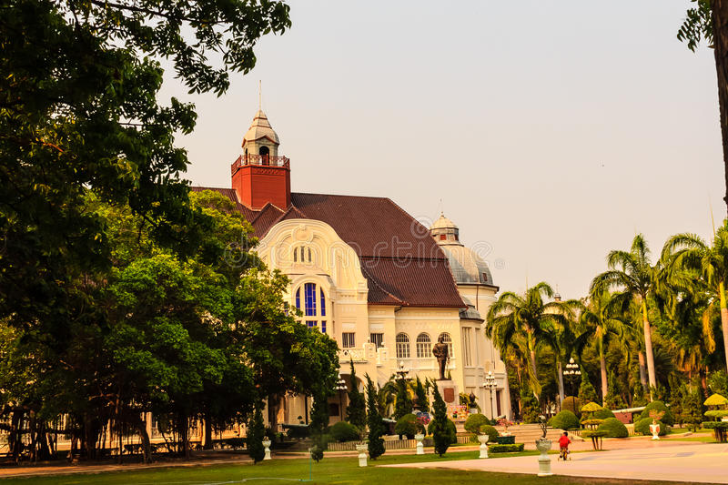 Beautiful Landscape and Architecture of Phra Ramratchaniwet Palace (Wang Ban Peun), former the king Rama 5 palace, one of the mai. N public tourist attractions stock photos