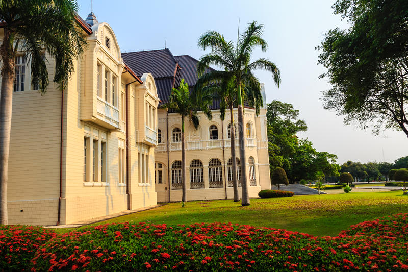 Beautiful Landscape and Architecture of Phra Ramratchaniwet Palace (Wang Ban Peun), former the king Rama 5 palace, one of the mai. N public tourist attractions royalty free stock image