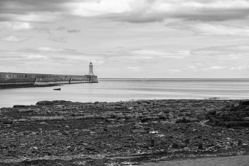 Beautiful landscape around Tynemouth Pier and lighhouse in monoc royalty free stock photos