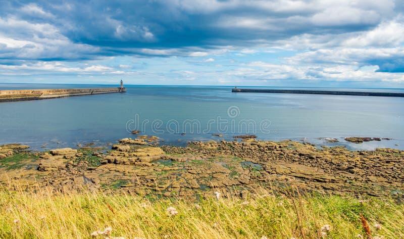 Beautiful landscape around Tynemouth Piers and lighthouses. Tynemouth, UK royalty free stock photo