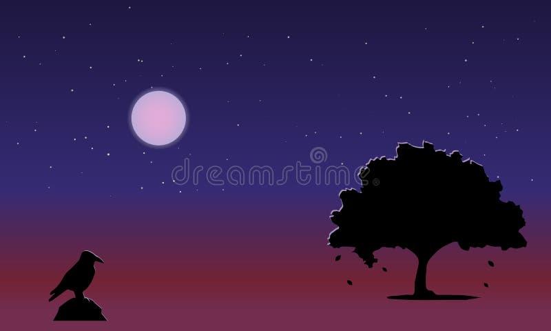 Beautiful landscape, autumn night, full moon, starry sky vector illustration