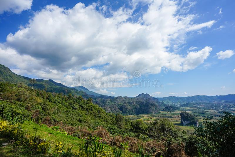 Beautiful landscape big cloud on the open sky and foresty mountain below., Phayao Province, winter of Thailand. Beautiful landscape big cloud on the open sky stock photos