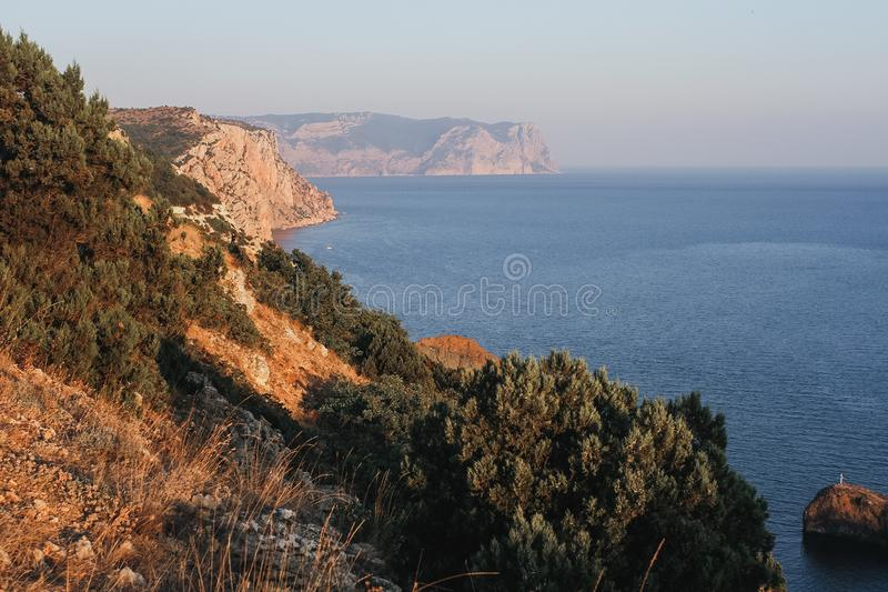 Beautiful landscape, Black sea fron the cape Fiolent. Peninsula Crimea, sunny day in the mountains royalty free stock images