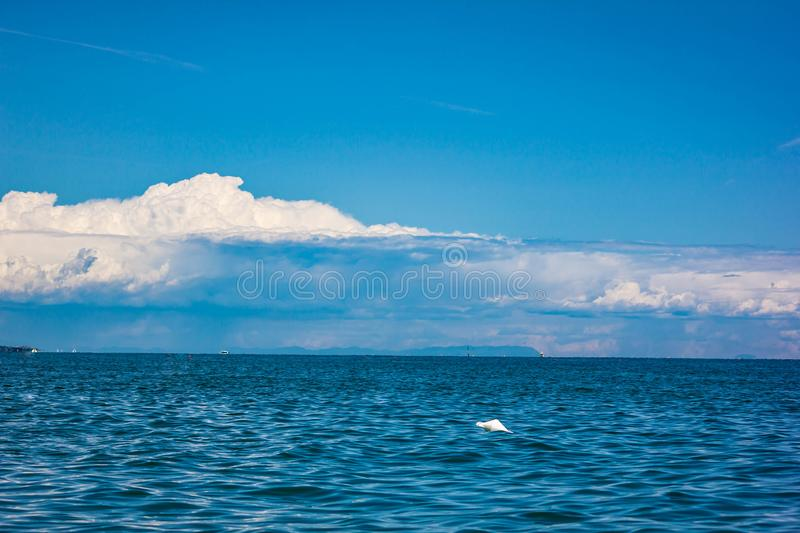 Beautiful landscape. a blue sea with an excellent sky, a background that makes you want to go to the sea. Jesolo beaches. Beautiful landscape, a blue sea with royalty free stock photography