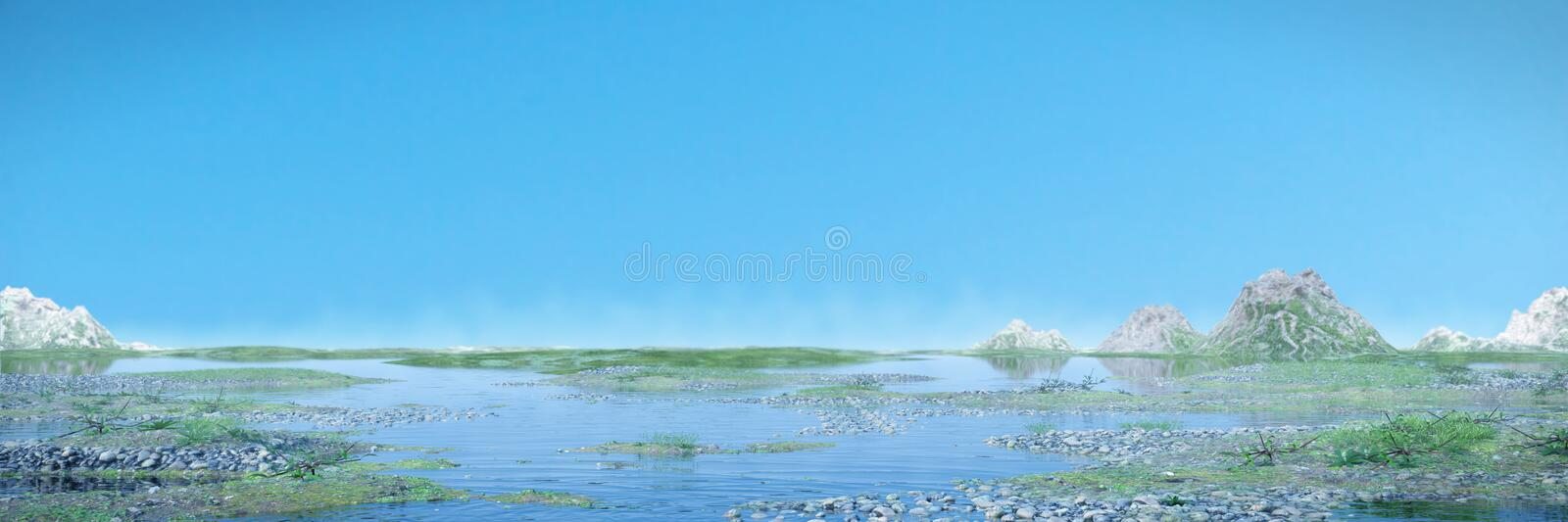 Beautiful landscape with blue sky and calm water, banner. Scenic watery landscape with low crawling fog, 3d illustration panorama royalty free illustration