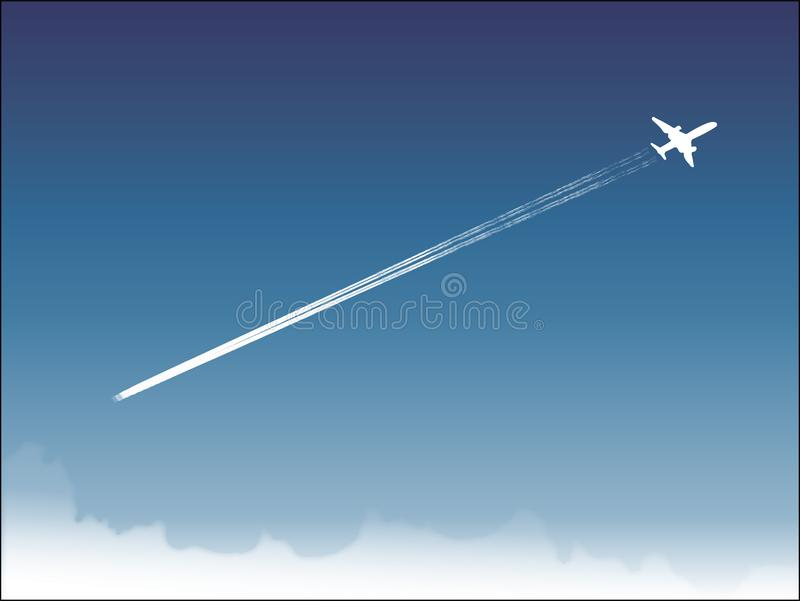 Beautiful landscape of blue sky and flying boeing royalty free illustration