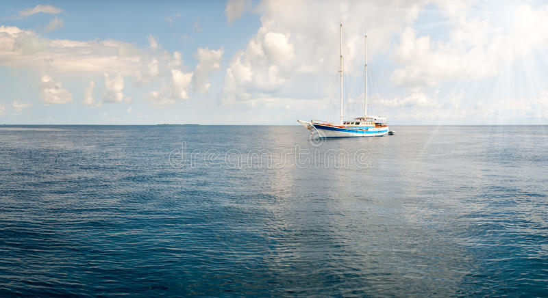Beautiful landscape with boats and sea royalty free stock image