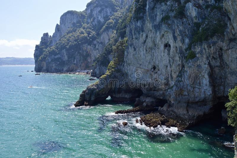 Beautiful landscape of  the Cantabrian sea royalty free stock photos