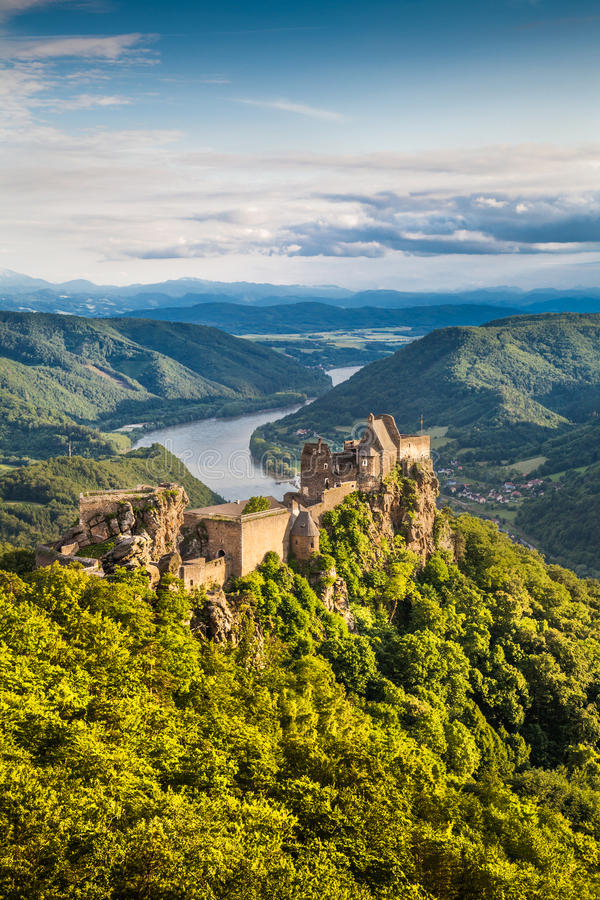 Beautiful landscape with castle ruin and Danube river at sunset, Wachau, Austria. Beautiful landscape with Aggstein castle ruin and Danube river at sunset in stock image