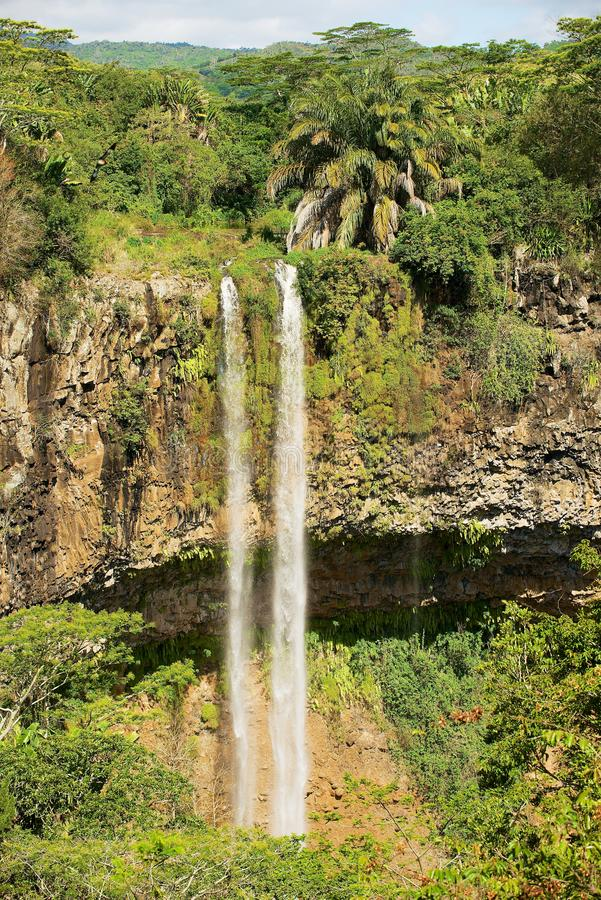 Beautiful landscape of Chamarel Waterfall in the tropical jungle of Mauritius island. stock images
